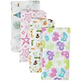 Muslin Swaddles Blankets, Ideal Baby Gift, 4 Baby Freindly Designs In A Pack, 100% Soft Cotton.
