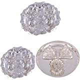 GS MUSEUM Silver Plated Rani Kumkum Plate 2 Sets And Silver Plated Mini Ganesh Laxmi Plate