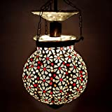 EarthenMetal Handcrafted Pumpkin Shaped Mosaic Design Red & Transparent Coloured Glass Hanging Light