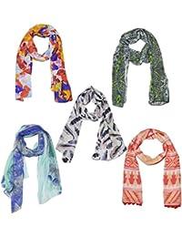 Weavers Villa Set Of 5 Premium Soft Summer Vibrant Coloured Trendy Scarf, Stoles, Dupattas - B01G0FRWWM
