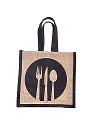 "H&B Jute Classic Jute Lunch Bag, 100% Organic Jute 8""x8""x5.5"", Black"