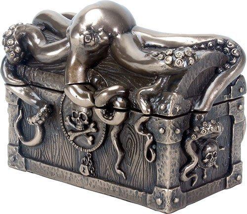 Octopus Pirate Treasure Chest Trinket Box