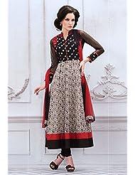 Utsav Fashion Women's Black And Off White Cotton Readymade Anarkali Churidar Kameez-X-Large