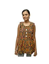 Odishabazaar Women's Black Cotton Printed Short Top Blouse - B00YNLP412