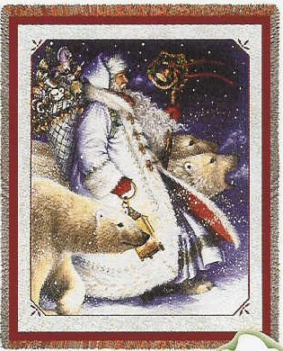 Santa and Polar Bears Woven Throw Blanket (Christmas, Santa Claus)