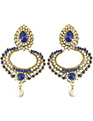Surat Diamonds Drop Shaped Blue & White Coloured Stones, Shell Pearl & Gold Plated Chandbali Earrings For Women...