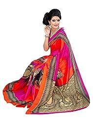 Riti Riwaz Orange & Pink Bhagalpuri Silk Casual Saree With Unstitched Blouse KNK6404B