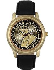 Jack Klein King Emperor Golden Dial Black Strap Elegant Analog Watch For Men