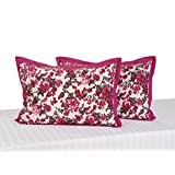Swayam Drape And Dream Printed Cotton 2 Piece Pillow Cover Set - Wine (PC02-2712 )