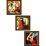 Go Hooked Multicolour Wooden Wall Painting With Frame Set Of 3