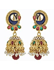 The Jewelbox Gold Plated Jhumki Earring For Women ( Multi-Colour )