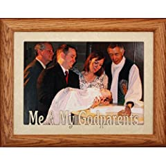 5x7 JUMBO  ME & MY GODPARENTS  Landscape Picture Frame  Laser Cream Marble Mat with Fruitwood Stained Oak Frame  Great Baptism/Christening Gift Frame for the Godparents!