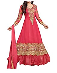 7Colors Women Georgette Dress Material36000 _Pink _Free Size)