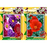 Airex Aster And Poppy California Flower Seeds ( Pack Of 30 Seeds Per Packet)