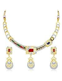 Sukkhi Modish Gold Plated Geometrical Shaped Necklace Set For Women