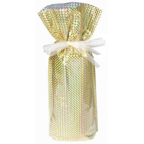 5 Wine/Bottle Drawstring Gift Bags, Diamond Gold
