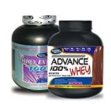 Whey Extreme 100% 2kg Chocolate& ADVANCE 100% WHEY 25gm Protein Per 33gm 1kg Chocolate (Combo Offer)