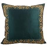 Svisti Raw Silk Single Piece Cushion Cover-Green, 40.64 Cm X 40.64 Cm