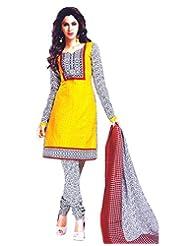 Namaskaar India Yellow & White Printed Salwar Suit Dupatta Material For Women