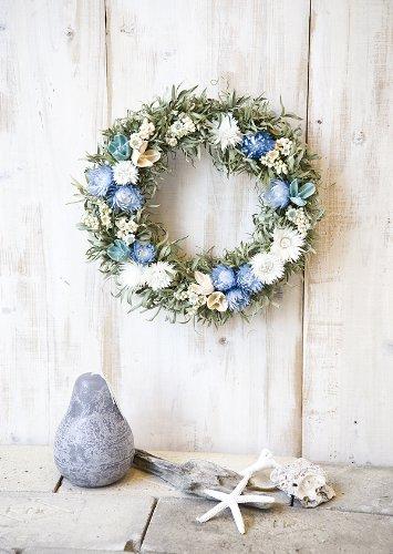 草原で見つけた妖精の花冠♪Coquelicot Azur☆爽やかブルーのドライ フラワー リース