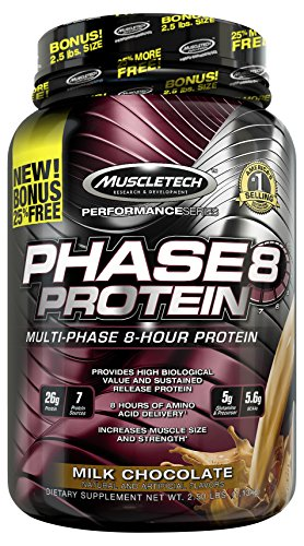 MuscleTech Phase 8 Protein Powder, Multi-Phase 8-Hour Protein Formula, Milk...