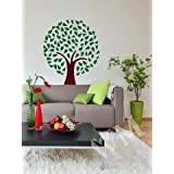 WALLMANTRA Tree & Leaves Wall Decal Wall Sticker (Size: 24x28 Inches) - B00TWNEXOA