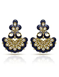 Traditional Ethnic Blue Meena Peacock Dangler Earrings With Crystal & Pearl For Women By Donna ER30042GBlu