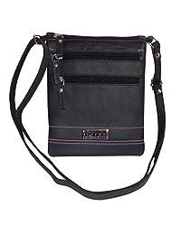 Leather Women's Crossbody Sling Bag (Black) - B01DHYP1AE