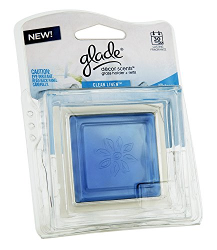 Glade Decor Scents Glass Holder Clean Linen Clamshell 28 Oz