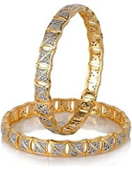Awww Precious American Diamond Gold Plated Bangle Jewellery For Women & Girls Set Of 2