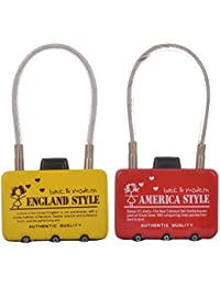 EZ Life Travel Safety-Bag Number Locks With Wire Locking -Assorted Design - Pack Of 2
