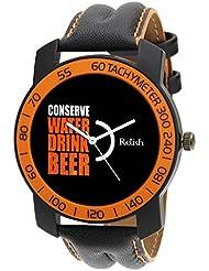 Relish-571 Stylish Orange & Black Case Analog Watches For Mens & Boys