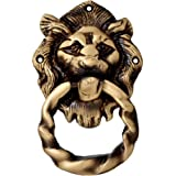 Two Moustaches Brass Lion Mouth Door Knocker Moulded Ring (Length: 7.62 X Width: 13.97)