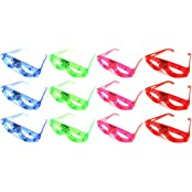 Set Of 12 Flashing Led Multi Color Light Show Childrens Kids Light Up Toy Glasses (Colors May Vary)