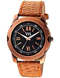Watch Me Analog Black White Brown Leather Brown Watch For Boys WML-249