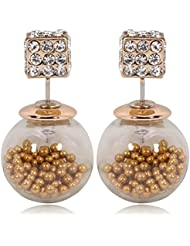 Via Mazzini Celebrities Inspired Golden Beads Filled Double Bubbles Earrings ...