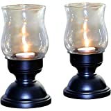 The Fragrance People Hurricane Metal Tea Light Candle Holder (10.4 Cm X 10.4 Cm X 19.3 Cm, Black, Pack Of 2)