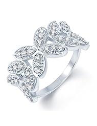 Sukkhi Fine Design Rhodium Plated CZ Studded Ring For Women