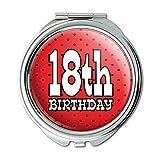 18th Eighteenth Birthday Red Black Polka Dots Compact Purse Mirror