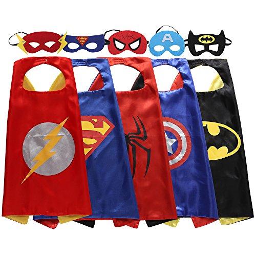 Zaleny Superhero Dress Up Costumes 5 Satin Capes with Felt Masks