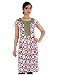 ESTYLe Black 'N Pink Printed Cotton Kurta With Contrast Yoke