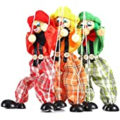 Yosoo 3 Pack Childrens Manual Educational Toys Colorful Clown Puppet Doll Toys Childrens Wooden Marionette Toys