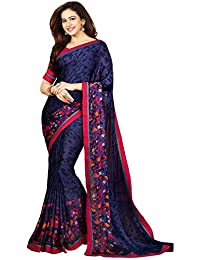 Women's Latest Georgette Fancy Saree With Blouse By Mona Designe (Black Color , Free Size)