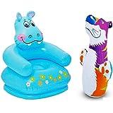 Param Intex Inflatable PVC Hippo Animal Chair With Intex Inflatable PVC Hit Me Tiger 3D BOP Bag
