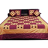 Ufc Mart Brown Maroon Silk Double Bed Spread With 4 Pillow Cover, Color: Brown, #Ufc00346