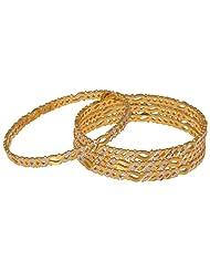 Shivani Imitations Gold Plated Designer Golden Bangle Set For Women - B00R30CXFU