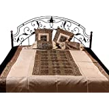 Ivory And Brown Five-Piece Single-Bed Banarasi Bedcover With Woven Flower Pots And Elephants - Silk