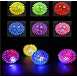 Mini Elastic Light Up Spike Ball With Led Flash Light Up For Fun/Games (6 Pcs)