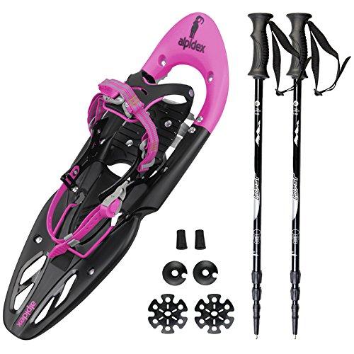 Spar-Paket: Schneeschuh ALPIFLEX 25 in Flexi-Pink mit Tragetasche von Alpidex + Leichter 3-teiliger Teleskopstock Schneeschuhstock Hiker 5000