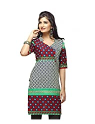 Karishma Suit - FREE Maybelline Colossal Kajal MRP 199 - S Blue-Red Printed Pure Cotton Dobby Unstitched Kurti...